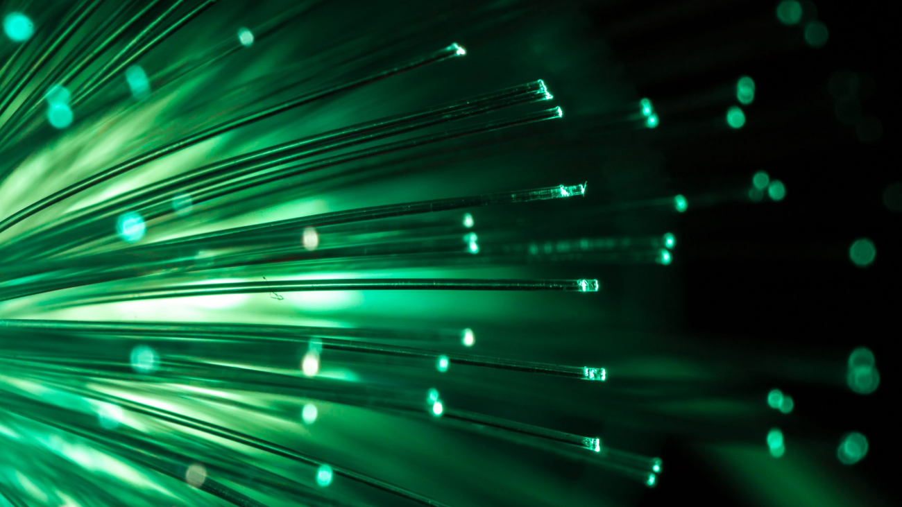 Green fiber optic background.